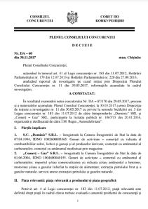 Decizia Plenului Consiliului Concurenței. Click pentru a deschide documentul